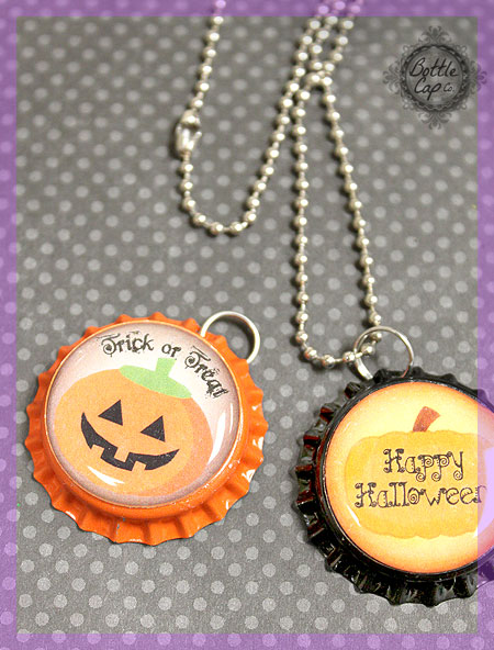 Halloween Bottle Cap Necklaces for Kids